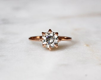 Round Solitaire Engagement Ring, Forever Brilliant Moissanite, Wedding and Engagement, 14k Solid Rose Gold