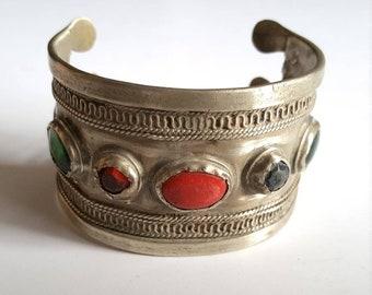 Single Banded Vintage Ersari Turkmen Banded Cuff/Bracelet: ATS Tribal or Fusion Belly Dance Jewellery
