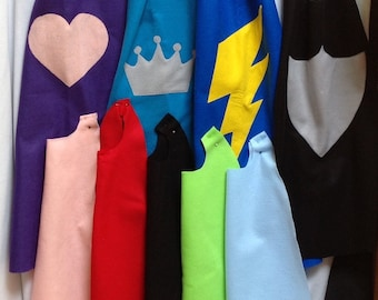 Felt capes with your choice of symbol shown, superhero capes, party favors,