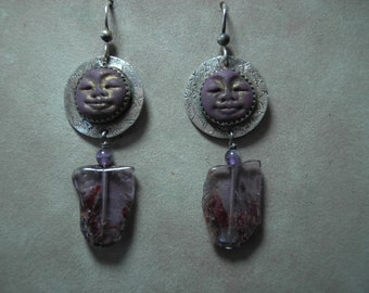 Sterling and Purple Moonface Earrings with Amethyst Slab Bead
