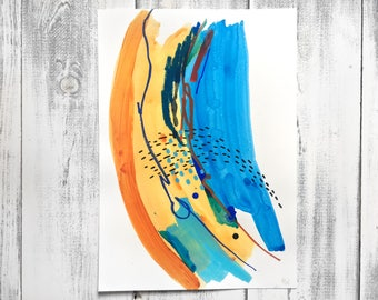 Original Mixed-Media Abstract Painting on Paper A3
