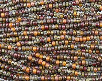 6/0 Aged Opaque Sunset Picasso Mix Czech Glass Seed Beads - 20 Inch Strand (AW257) SE