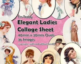 Elegant Ladies Digital Collage Sheet  - 40mm x 30mm ovals  - 36 different vintage images - perfect for jewelry etc Mixed Media Ovals