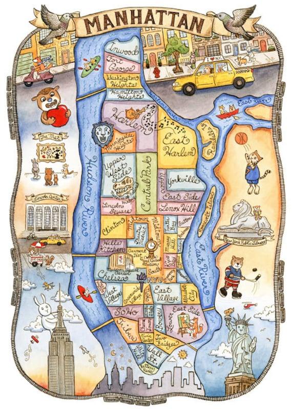 new york city map manhattan art print 11 x 14