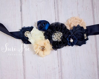 Rustic Navy Flower Girl Sash...Burlap Sash..Bridal Belt / Sash..Bridesmaid Sashes..Maternity Sash...Ivory  / Flower Girl Sashes /Navy Ivory