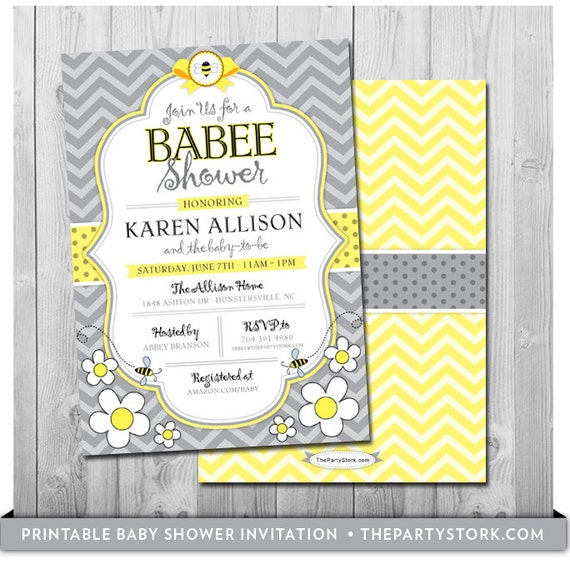 Bee baby shower invitation printable mommy to bee like this item filmwisefo Choice Image