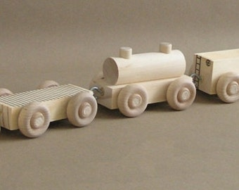 "Wooden Toy Train.  The ""No Paint"" Special. Eco-friendly, natural wood train set."