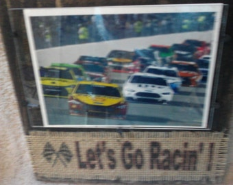 Let's Go Racing frame racing racecar rustic wood and burlap  frame handmade in USA
