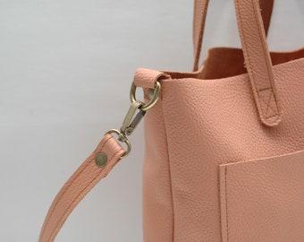 Leather tote bag, medium size ,salmone color