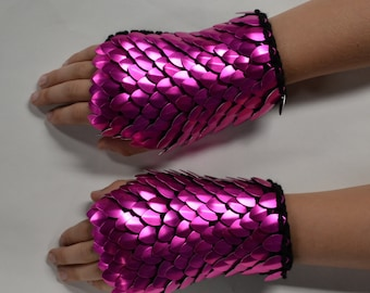 Scalemail Gauntlets in knitted Dragonhide Armor Pink Fire  Choose your size