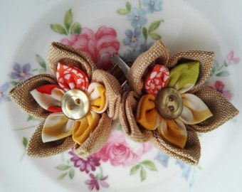 Linen Flower Hair Clip, Linen mix hair clip, flower girl hair accessory, kids hair accessory, handmade hair clips, hair bobbins