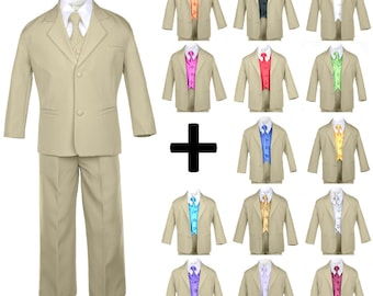 New Baby Toddler Boys KHAKI Formal Baptism Wedding Ring Bearer Formal Occasion 7 pieces  Suit Tuxedo BY013+501