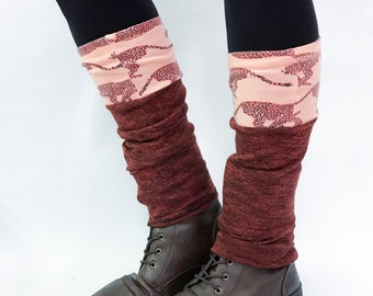 Eco design Leg warmers / DominiqueJuliette / pumkin, black moire / cheetah print / dance / boot sock / gift idea / ethicaly made in Montreal