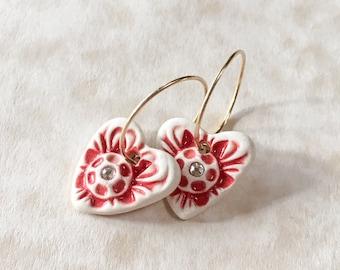 Sweet Heart Porcelain and Swarovski Crystal Earrings-White and Red Heart Earrings-Dainty Valentine's Day Earrings-Ceramic Heart Earrings