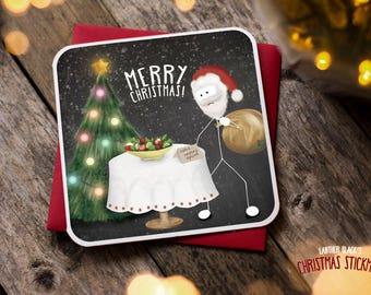 Funny Christmas Card / Christmas Card / Funny Holiday Card / Funny Cards / Funny Christmas / Funny Santa Card / Healthy Option / XS03
