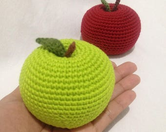 Green apple, Red apple, Crochet apple, Baby Rattle, Play food, Crochet Toys, Crochet fruits, Teething toy, Pins cushion