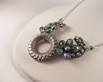 Vintage Iridescent Brooch Necklace, Statement Necklace, Bib Necklace
