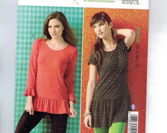 Misses Sewing Pattern Kwik Sew K4002 4002 Ruffled Tunic Top Stretch Knit Keyhole Back Scoop Neck Size XS S M L XL UNCUT