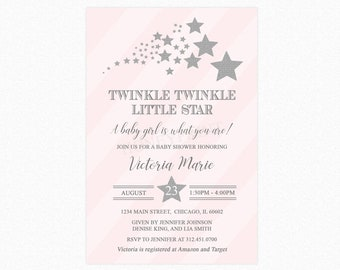 Twinkle Twinkle Little Star Baby Shower Invitation, Star Baby Shower Invitation, Pink, Silver Glitter, Personalized, Printable or Printed