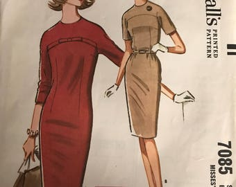 Vintage 60s McCall's 7085 Dress Pattern-Size 14 (34-26-36)