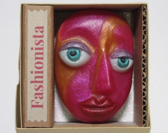 Fashionista, our gorgeous Face Soap wearing Chanel and Donna Karan in vivid fuschia & orange