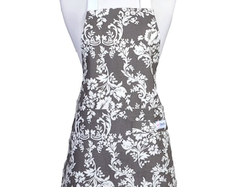 Womens Grey and White Floral Damask Retro Chef Vintage Style Kitchen Canvas Apron with Pockets, Towel Loop and Adjustable Neck Ties