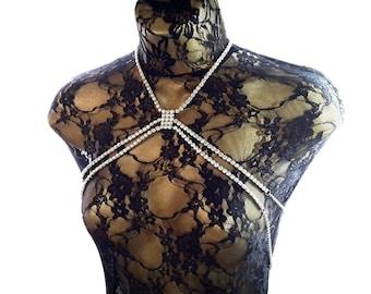 Crystal body chain. Adjustable mutiway body harness. Burning Man.
