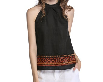 Embroidered Pleated Halter Top