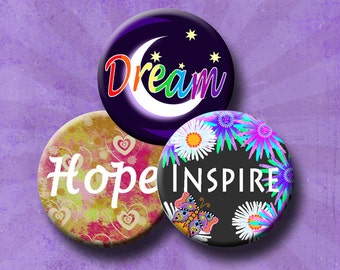 """INSPIRE HOPE - Inspirational Words - 1.837"""" circles for 1.5"""" button images. Instant Download #241."""