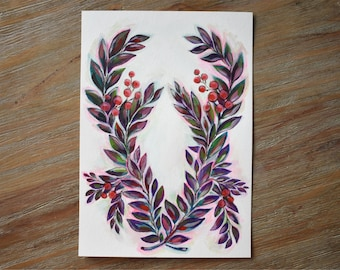 Berry Wreath Original Painting