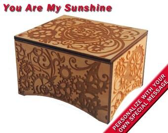 "Windup Steampunk Music Box, ""You Are My Sunshine"", Laser Engraved Birch Wood"