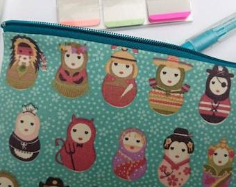 Pencil case, small zipper pouch, accessories zipper pouch, gadget zipper pouch, russian doll pouch