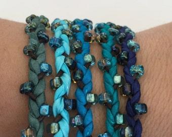 DIY Silk Wrap Bracelet or Silk Cord Kit DIY Craft Kit DIY Bracelet You Make Five Adult Friendship Bracelets in Dark Teal Blue Green Palette