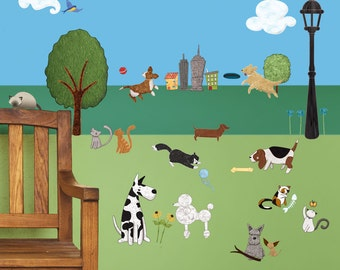 Cat and Dog Wall Sticker Set – 37 Peel & Stick Animal and City Park Decals for Nursery, Kid Room, Animal Center - MINI SET (#1250-17)