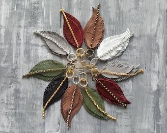Leather feather earrings. Boho earrings. Bohemian earrings. Leather earrings. Dangle layered earrings. Native earrings. Western earrings.