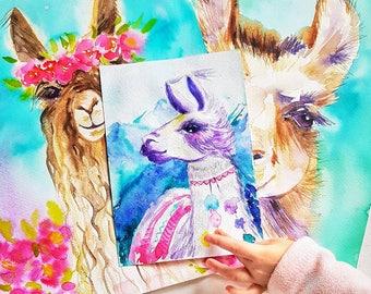 Purple llama small original watercolor painting mountains nursery decor llamas art for girls baby shower gift birthday present daughter