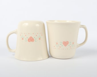"1970's-80's (2) Corning Mugs Flair Top, ""Forever Yours"" Excellent condition,  3-1/2"" H X 3-1/4"" Top Diameter."