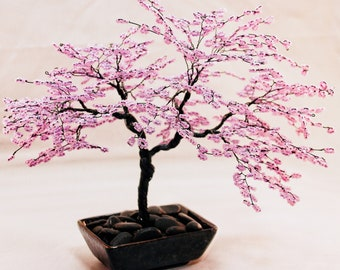 Lilac Beaded Bonsai Wire Tree Sculpture