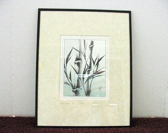 Katsumi Sugita Signed Print Bamboo on a day of Spring Framed