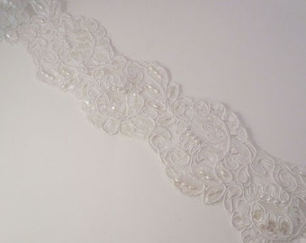 """White Re-Embroidered Lace Trim with Pearls and Sequins 3.5"""" Wide--One Yard"""