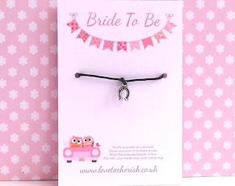 Bride To Be Wish / Friendship Bracelet - Lucky Horseshoe Charm Bracelet - Wishing - Handmade Congratulations Gift - Engagement Gift