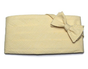 Lemon Yellow Seersucker Stripe Cummerbund & Bow Tie~Mens Cummerbund Set~Mens Formal Wear~Groomsmen~Groom~Self Tie Bow Tie~Men Gift~Wedding