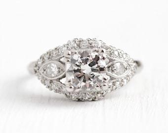 Art Deco Engagement Ring - Vintage Platinum 1.29 CTW Diamond Ring - 1930s Size 6 1/4 Vintage Fine Halo Brilliant Cut Jewelry , w/ Appraisal