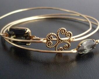 Gray Rhinestone & Shamrock - Gold Bracelet Set, Bangle Bracelets Gold, Shamrock Bracelet, Gray Rhinestones, Gold Stack Bracelet Bangle Set