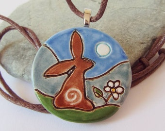 Ceramic Pottery Moongazing Hare Pendant, Hare Jewelry, Animal Jewelry, Hare Animal Totem, Goddess Gift, Animal Gift, Pagan Pottery
