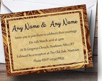 Vintage Brown Gold Postcard Style Personalised Wedding Invitations