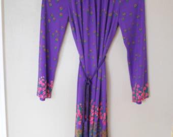 vintage 1980's  purple & pink floral rope tie dress *