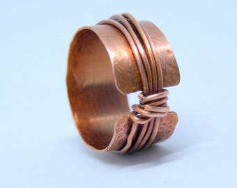Hammered copper ring, Copper boho ring, Copper rustic ring, Statement ring, Boho jewellery