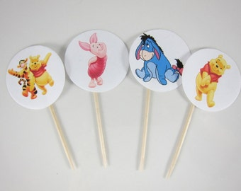 Winnie-the-Pooh cupcake toppers, Piglet,Tigger,Eeyore and Winnie Round Double sided cupcake picks