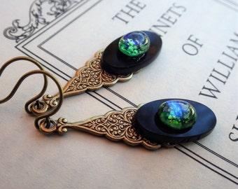 Blue Green Opal Earrings ~ Art Nouveau ~ Vintage Glass ~ Black Green ~ Dangle Earrings ~ by LadyoftheLakeJewels